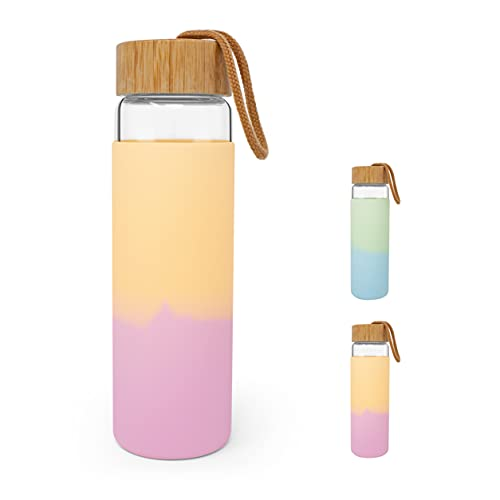 Zumaflo 22 oz Glass Water Bottle with Bamboo Lid and Two Color Silicone Protective Sleeve – Reusable, Leakproof, BPA Free, Dishwasher Safe (Sunset - Pink, Orange)
