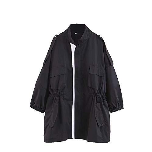 AAADRESSES Gabardinas Mujer Abrigo Moda Jacket Long Trench Coat Chubasquero Impermeable Chaqueta Suelta con Cuello Alto y Manga Fina