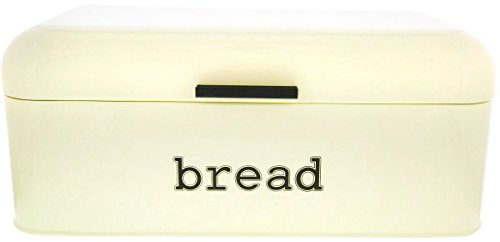 Bread Box for Kitchen Counter - Stainless Steel Bread Bin, Dry Food Storage Container for Loaves, Pastries, Toast and More - Retro Vintage Design, Cream, 16.75 x 9 x 6.5 Inches