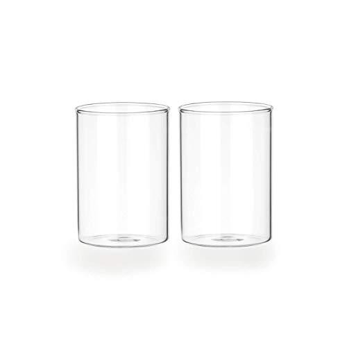 Tuuters.de 2er Set Windlichtgläser für Drinnen und Draußen | Aus Borosilikat-Glas ✓ (60 x Ø 40 mm, Mit Boden)