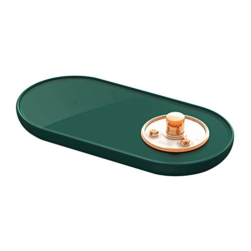 CaiKeRuiQiMaoYiYouXianGongSi Calentador de taza 5V USB termostático taza posavasos calefacción Mat (verde oscuro)