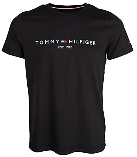 Tommy Hilfiger Logo T-Shirt Camiseta, Negro (Jet Black Base), M para Hombre