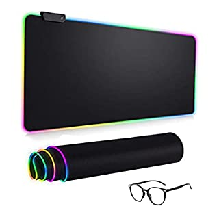 RAVIANT RGB Gaming Mouse Pad,(80cm X 30cm)LED 14 Lighting Modes,Extended Soft Mousepad, Large Mouse pad with Premium-Textured Cloth, Non-Slip Rubber Base for Gamer, Office & Home, (Black) (B08XZVHC4G)   Amazon price tracker / tracking, Amazon price history charts, Amazon price watches, Amazon price drop alerts