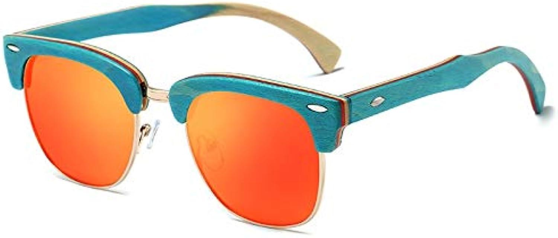 DABAOYA Half Frame Wooden Sunglasses Design Vintage Rivet Unisex Bamboo Sunglasses Men Eyewear