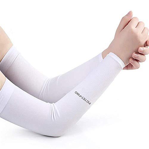 ドライアイスUV腕カバー ロングタイプ 気化熱作用 スーッと爽快 冷感 アームカバー アームスリーブ (白)