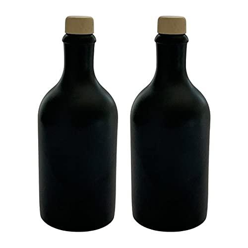 2 x Ölflasche 500 ml Keramik Ölspender Schwarz mit Ausgießer Flaschen Made in Germany
