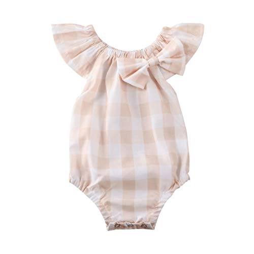 0-12M pasgeboren baby mouwloze jurk plaidboog ruches rompertje zomerjurk vintage rok Top +