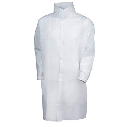 AMAZING Disposable Lab Coats 39' Long. Pack of 10 White Medium PPE Gowns with Stand-Collar, Elastic Wrists, Hook & Loop Fasteners, No Pockets. PE Coated Polypropylene 60 gsm Clothing for Painting.