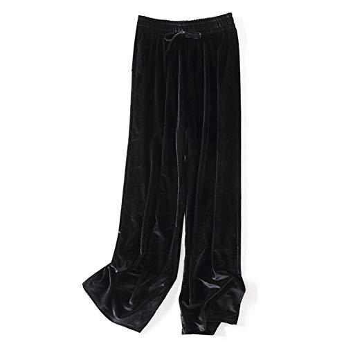 Pantalon Large en Velours Doré pour Femme, Sports Et Loisirs d'automne Et d'hiver, Taille Haute, Pantalon Tricoté Grande Taille, Pantalon De Nettoyage Drapé