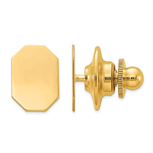 14k Yellow Gold Mens Line Design Octagon Tie Tac Lapel Pin Bar Fine...