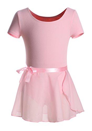 DANSHOW Girls Short Sleeve Leotard with Skirt Kids Dance Ballet Tutu Dresses(KD3027-L-08)