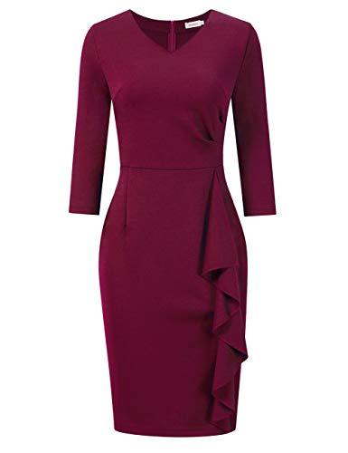 Clearlove Damen Etuikleid Elegant 3/4 Ärmel Business Kleid V-Ausschnitt Knielang Rüschen Bleistiftkleid, Weinrot, L