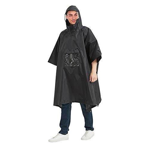 MiOYOOW Poncho de lluvia, chaquetas de lluvia de ciclismo con funda para teléfono y broches laterales con capucha para hombres, mujeres y adultos