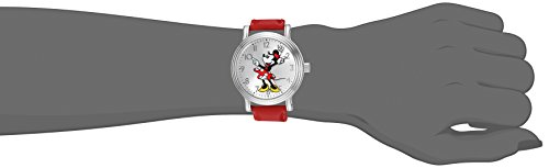 Minnie Mouse Women's Silver Vintage Alloy Watch, Red Leather Strap, W002760