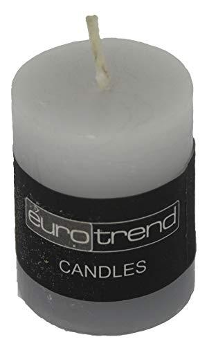 Zylinder Kerze grau Euro Trend Candles Durchmesser 5cm x 5cm