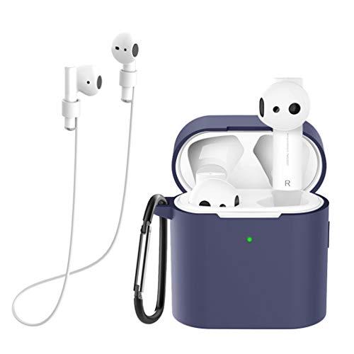 Yoowei Funda Compatible con Xiaomi Air 2 / AirDots Pro 2, 3in1 Silicona Funda + Cable de Auriculares + Gancho de Msetal, Protectora para Auriculares Estuche en Azul Medianoche