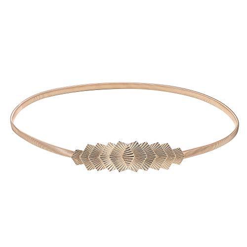 BABEYOND Cinturones ajustados de las hojas del metal de las mujeres Cinturón elástico de la cintura Cinturones elásticos para los vestidos Cintura decorativa