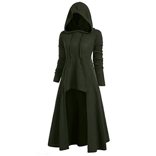 VEMOW Karneval Halloween Cosplay Party Ballkleid Damen Mode Langarm Mit Kapuze Mittelalterliches Kleid Bodenlangen Cosplay Kleid(X2-Gelb_1,38 DE/XL CN)