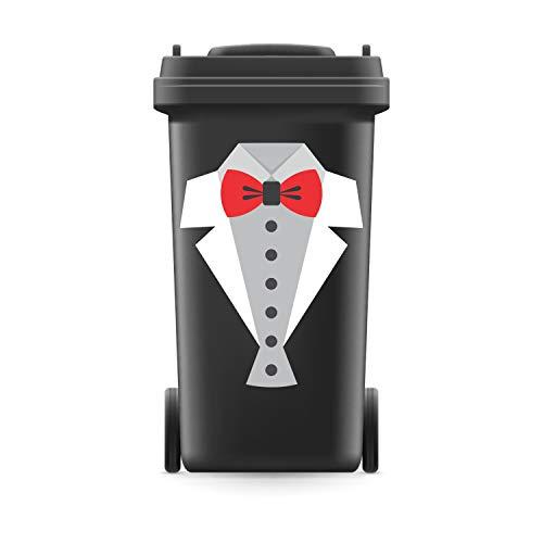 WERBEPUNKT. Mülltonnenaufkleber Mülltonne Mülleimer Abfalltonne Sticker Anzug Frack Fliege - 493 x 370 mm
