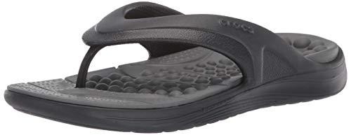 Crocs Reviva Flip Flop, Black/Slate Grey, 14 US Women / 12 US Men
