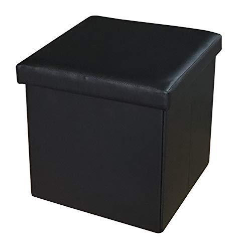 Puf plegable con contenedor, taburete, reposapiés en forma de cubo, tapa extraíble, color negro, 35 x 35 cm
