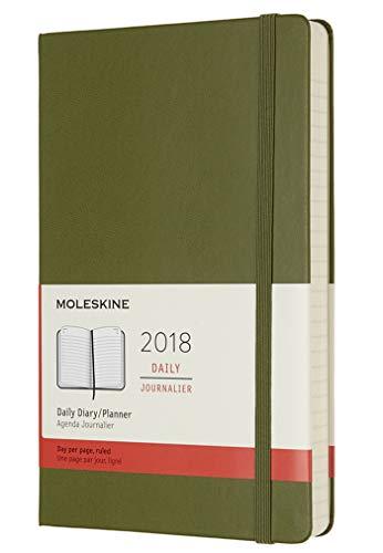 Moleskine Día Calendario, 12Meses, 2018, Hard Cover, color Ulmengrün L