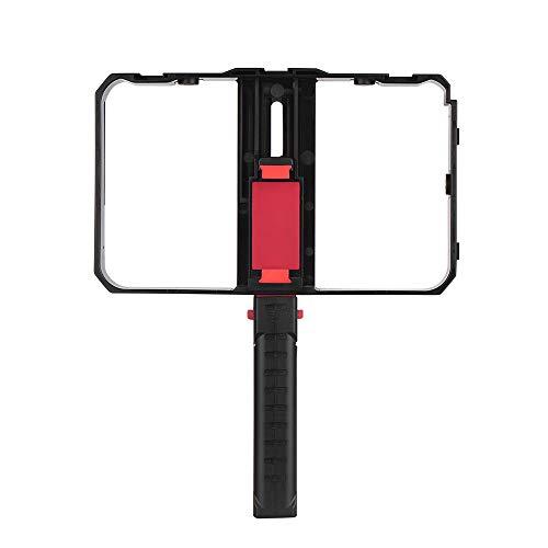 Zwbfu Teléfono intente portátil Video Rig Handheld Phone Stabilizer Grip Cage con Soporte para teléfono 3 montajes de Zapata fría Mango para XS/XS MAX/XR/X / 8 para
