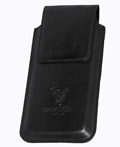 MATADOR Echt Leder Gürteltasche kompatibel mit Samsung S9 Plus / S10 Plus / S20 Plus Tasche Ledertasche Magnetverschluss Gürtelclip/Gürtelschalufe Schwarz