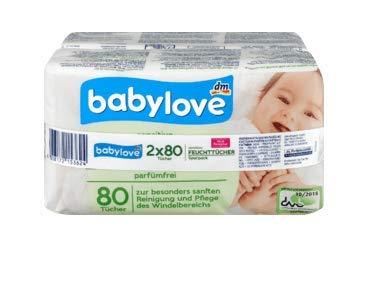 babylove Toallitas húmedas para bebé, sin alcohol, sin fragancias, especialmente suaves y absorbentes, pack de 2 (2 x 80 unidades)