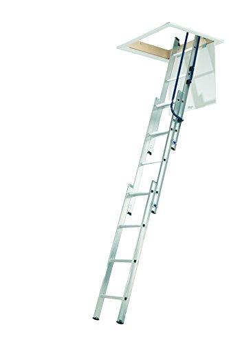 Werner 76013Easystow 3Abschnitt Aluminium Loft Leiter mit Handlauf, Komfort D-förmige Sprossen, Inc. Stange, 150kg Tragkraft, Sicherheit Zertifizierung nur für, 25Jahre Garantie, silber