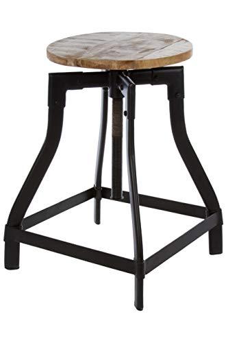 Elbmöbel, zitkruk, kruk, industrieel, bruin, zwart, hoog, bloementafel, plantentafel, metaal, kruk, schminkkruk voor kaptafel, landhuisje, schminktafelkruk pianokruk