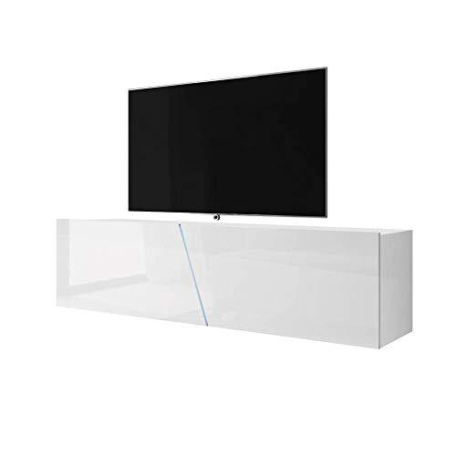 Selsey TV-Lowboard, Weiß Matt/Weiß Hochglanz, 160 x 40 x 35
