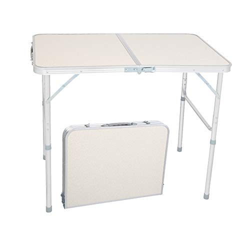 """Nanssigy Aluminum Folding Table 3 Foot, Lightweight Portable Camping Table, Foldable Picnic Table with Handle for Hiking, Party, Backyard, BBQ, Indoor and Outdoor, White (3FT-35.43 x 23.62 x 27.56"""")"""
