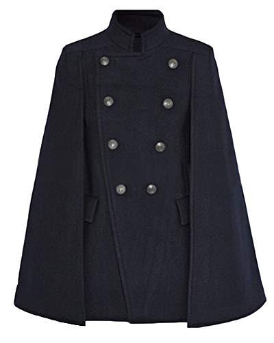 PengGengA Frauen Mode Damen Militärischer Stil Ponchos Cape Wollmantel Mantel Kap Trench Parka Jacke Winter Marine XL