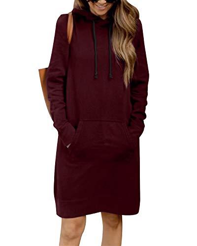 Kidsform Damen Herbst Hoodies Lang Kapuzenpullover Damen Long Sweatshirt Oversize Pulloverkleid Damen Winter Rot XXL