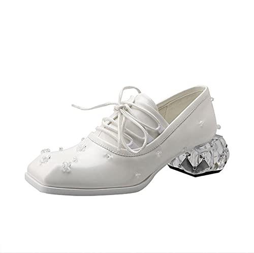 Zapatos Mary Jane para Mujeres Elegante Diamante De Cuero Cordón de tacón Medio Princesa Lolita Zapatos,Blanco,37 EU