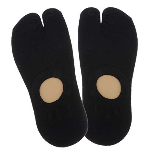 sharprepublic Calcetines Tabi Mujer Hombre Calcetines de Algodón Antideslizante Corte Bajo Calcetines de Barco Apto para Chanclas, Sandalias - Negro, tal como se describe