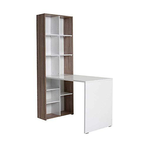 Adore Furniture - Mesa de Estudio y estantería, Color Blanco