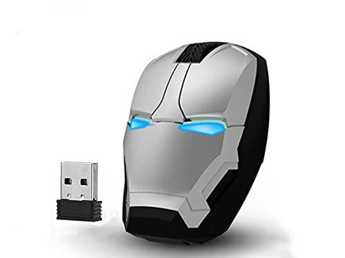 Ratón de juego ergonómico inalámbrico, óptico LED 2,4 G, ratón portátil con nano receptor USB, 3 DPI ajustables, compatible con PC/ordenador portátil/Notebook USB inalámbrico (blanco)