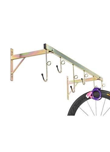 Andrys - Râtelier range vélo mural pour extérieur et intérieur – Porte-vélos démontable pour 6 vélos – Range vélos en acier galvanisé – Couleur tropical doré avec embouts en pvc noir - 3006A