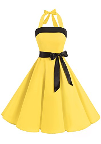 Timormode 10212 Vestido De Vintage 50s Cuello Halter Elegante Mujer Amarillo XL