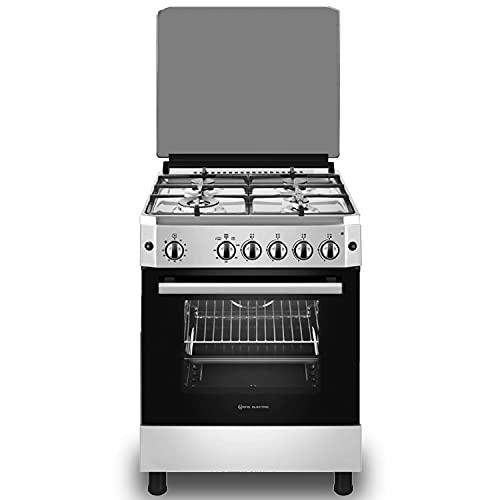 EAS ELECTRIC SMART TECHNOLOGY | EFG660X | Cocina de gas Inox | Color Inox | 60 cm | Gas butano y gas natural | Autoencendido | Horno de 63 litros | Tapa de cristal y aluminio | Válvula FFD | 4 fuegos
