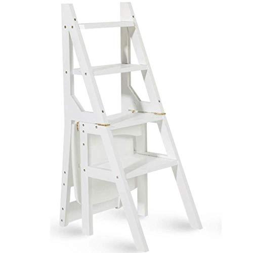 BJYG Multifunktionsleiter Hocker Startseite Massivholz IKEA Kinder Klappstuhl Provinz Raum Dual-Use-Vier-Stufen-Leiter Aufsteigende Leiter 40 & Times; 46 & Times; 90cm (Farbe: Weiß)