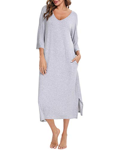 Aibrou Damska koszula nocna, długa bawełna, bielizna nocna, rękawy 3/4, dekolt w kształcie litery V, luźny krój, z kieszeniami