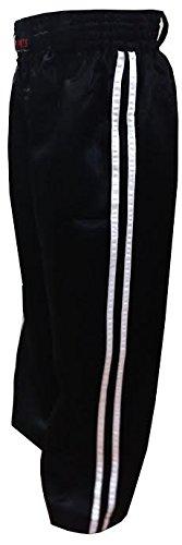 Kickboksen Broek Training Broek Zwart met 2 witte strepen satijnen broek Kinderen en volwassenen (000/110cm kids 4-5yrs)