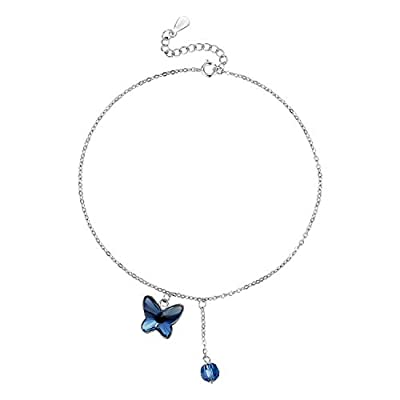 T400 925 Sterling Silver Anklet, Swarovski Elements Crystal Butterfly Foot Chain Women Gift