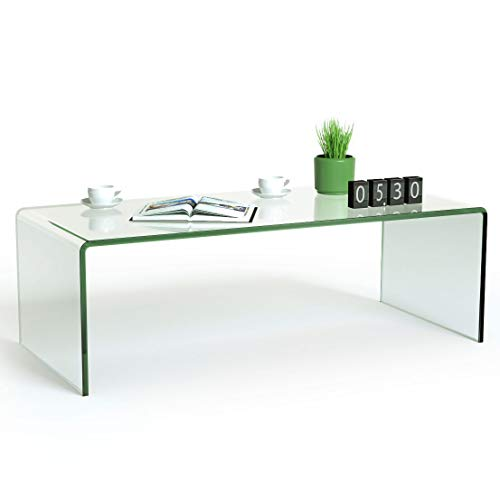 Tangkula Glass Coffee Table, 42.5' L × 20' W ×14' H, Modern Home Furniture, Clear Tempered Glass End Table, International Occasion Tea Table, Waterfall Table with Rounded Edges (Clear)