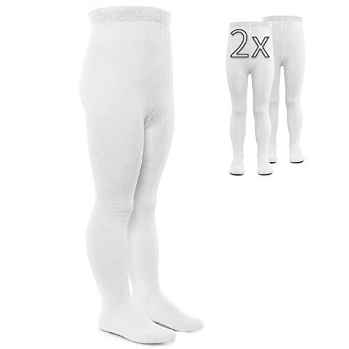 LaLoona 2er Pack Baby und Kinder Strumpfhosen - Set 2x elastische Babystrumpfhosen mit breitem Bund und hohem Baumwolle Anteil - Weiß - 74-80