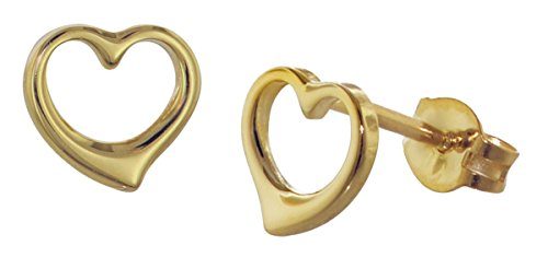trendor Gold-Ohrringe Offenes Herz wunderschöne Ohrstecker aus Echtgold für Damen, zauberhafte Geschenkidee für modische Frauen 35815