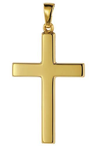 trendor Kreuz-Anhänger 28 mm Gold 585/14 Karat Damen und Herren Goldanhänger, modischer Kreuzanhänger, Geschenkidee, eleganter Schmuck aus Echtgold 75367